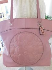 Coach Laura Leather Large Mauve/Pink Tote Shoulder Bag F18336