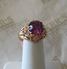 Antique 14k rose gold filigree created Purple Sapphire Ring Russian Hallmarks