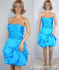 Davids Bridal Strapless Malibu Aqua Pick Up Balloon Bridesmaid Party Dress 84091