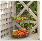 French Wire Two Tiered Standing Basket~Farmhouse~Veggie/Fruit Basket