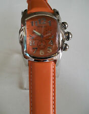 DESIGNER STYLE ELEGANT ORANGE/SILVER FINISH LEATHER BAND  FASHION WATCH
