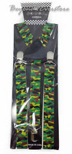 Men's Costumes Wear Accessories Marine Green Camouflage Adjustable Suspenders