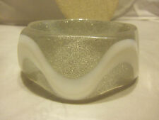 "1 1/4"" Wide Glittery Clear and Wavy White Sturdy Bangle Bracelet"