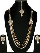 Gold Tone Kundan Necklace Set Wedding Jewelry Bridal Long White Bollywood Indian