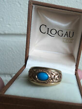 LARGE Welsh 9ct Clogau Gold Turquoise Celtic Design Ring  h/m 1993 -  size O