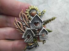 "Vintage Signed KC Enameled Bird House w/Charms & Sun Flower Pin 2.25"" Brooch -m"