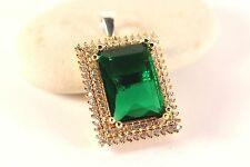 Turkish Jewelery Handmade Emerald Topaz 925K Sterling Silver & Bronze Pendant