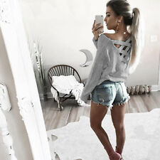 Womens Backless T-Shirt Long Sleeve Ladies Hollow Casual Party Tops Blouse H2