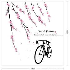 Removeable Peach Blossom Retro Bicycle Bike Mural Wall Sticker Removeable Decal