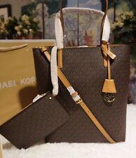 NWT Michael Kors HAYLEY LG Convertible Tote Bag & Removable Pouch BROWN PVC $198