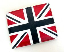 UK Flag Print Bi-Fold Wallet Genuine Leather Union Jack