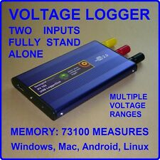USB Voltage Data Logger Volt DC Recorder 2 input Flash Memory Win Mac Android