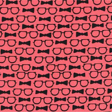 Michael Miller Cool Cats Loosing Face Coral Glasses Bow Tie Cotton Fabric FQ