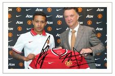 MEMPHIS DEPAY & VAN GAAL MANCHESTER UNITED SIGNED AUTOGRAPH PHOTO PRINT  SOCCER