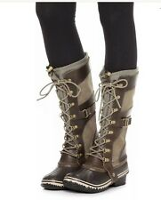 Sorel Conquest Carly Leather Tall Boots Camo Brown/Pebble 5 Lace Up Snow Winter