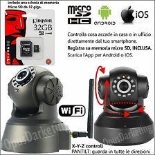 TELECAMERA DI SORVEGLIANZA WIFI VIDEO IP CAMERA INTERNET + MEMORIA MICRO SD 32GB