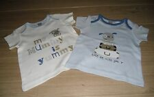 **BNWT** MINI CLUB at BOOTS PACK of 2 TOPS ~ YUMMY MUMMY ~ 100% COTTON ~ 3-6 mth