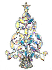 Gorgeous Stunning Ab Crystal Gold Metal Christmas Tree Pin Brooch  A217