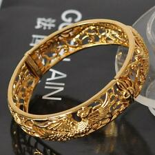 China dragon phoenix Luxury women's 18K Yellow Gold Filled carved bangle Wedding
