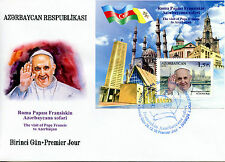 Azerbaijan 2016 FDC Pope Francis Visit 1v M/S Cover Churches Popes Flags Stamps
