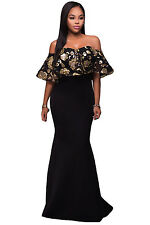 Black Gold Sequins Ruffle Off Shoulder Strapless Mermaid Maxi Dress 8 10 12 14