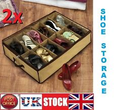 2x12 pair Under Bed Shoe Organiser Storage Holder Shoe Box Tidy Bag Rack Pockets