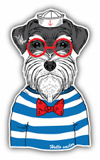 "Schnauzer Sailor Dog Car Bumper Sticker Decal 3"" x 5"""