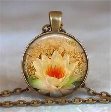 Vintage lotus Cabochon Bronze Glass Chain Pendant Necklace wj46