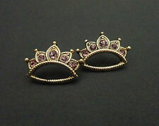 Betsey Johnson Earrings, Gold Pink Crown Rhinestone Stud MSRP $30