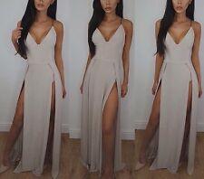 Dark Nude Slinky Thigh High Split Maxi Dress Size 10 - Brand New