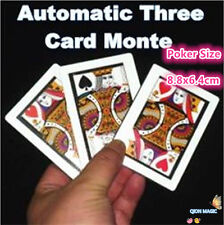 Automatic Three Card Monte (Poker Size,8.8x6.4cm),Stage Magic Tricks,Fun,Classic
