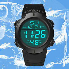 Waterproof Men's Boy LCD Digital Stopwatch Date Wrist Watch Sport Rubber Watches
