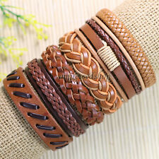 6pcs Mens Women Genuine Leather Bracelet Bangle,Vintage,bracelet accessories-D15