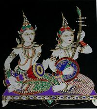 Classical Music Play Drum Thai Silk Screen Picture Handmade Wall Decor Black #2