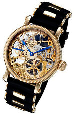 Rougois Mechanique Gold Tone Skeleton Watch Rubber Band with Gold Tone Inserts