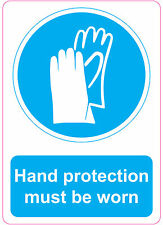 [ 205x290mm ] HAND PROTECTION MUST BE WORN | health and safety | signs/stickers