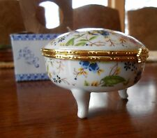 Hand Painted Floral Chinese Porcelain Powder or Jewelry Box with Mirror