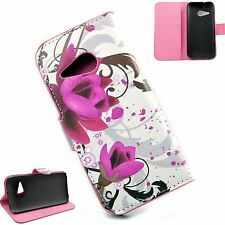 Beautiful Flower Leather Phone Skin Cover Walet Case For HTC One Mini 2 M8 Mini