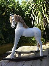 Wooden large rocking horse, display decoration only French shabby chic