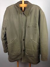 Mens M LL Bean Barn Coat Flannel Lines Farm Barn Chore Jacket Canvas Winter Warm