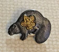 Vintage Boy Scouts of America Sterling Silver Beaver Pin or Medal Rare Tiny pins
