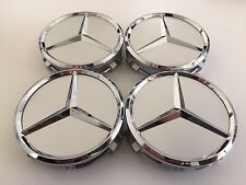 4 PCS 75mmSILVER WHEEL BADGE CENTER CAPS Decal Tire Tyre MERCEDES BENZ C E CLS