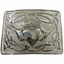 Men's Irish Claddagh Kilt Belt Buckle Chrome Finish/Celtic Claddagh Belt Buckles