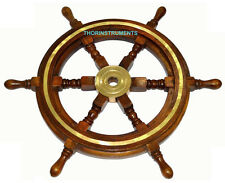 "Wooden Ship Wheel Maritime Pirate Captain Decor 24"" Ships Boat Steering Wood"