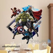 Avengers Super hero Iron man Green Hulk Wall Decal Sticker Boys Decor Art Mural
