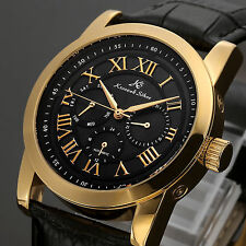 KS Gold Case Black Leather Automatic Mechanical Luxury Date Mens Wrist Watch+Box