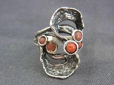 schöner alter Ring 925/-Silber mit Koralle Israel ca.60er Jahre
