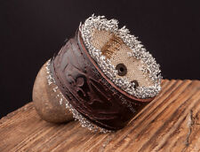 Personality Mens Fabric Floral Empaistic Leather Wristband Bracelet Wide Cuff