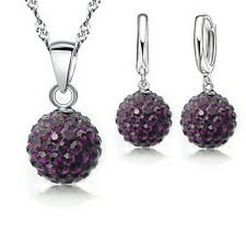 Best Gift For Women Girls Cz Disco Ball Necklace+Earring+Chain Jewelry Sets