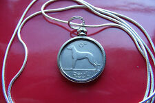 "( Harp & Hound)  1928 IRELAND SIXPENCE Antique on a 30"" .925 Silver Snake Chain"